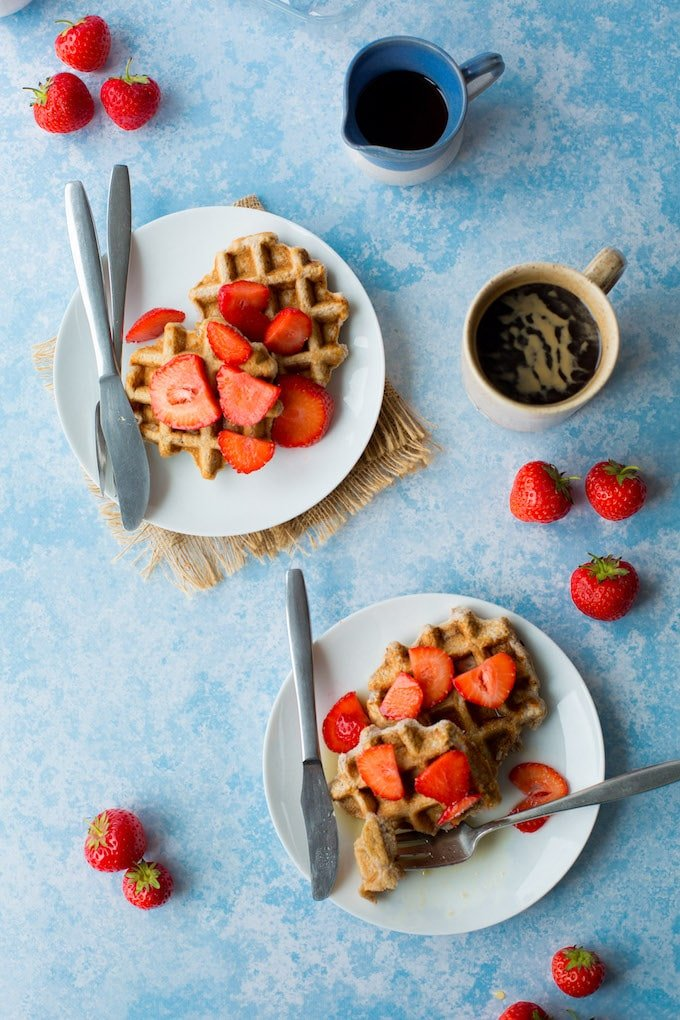 Single serve Paleo Waffles made with coconut flour  – ready in about five minutes! Gluten Free + Dairy Free + Paleo