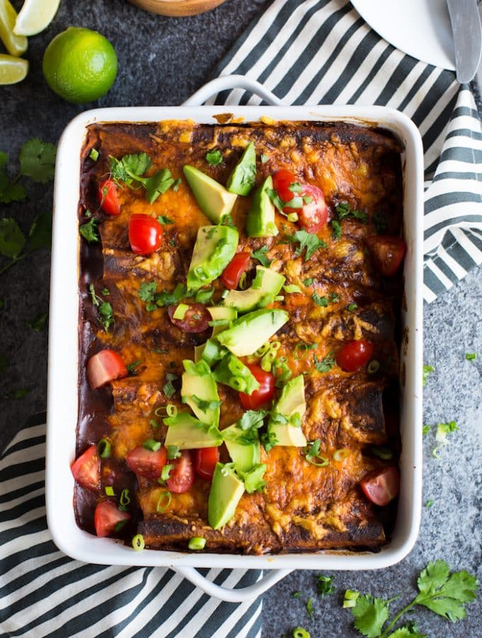 Skinny Chipotle Sweet Potato Enchiladas