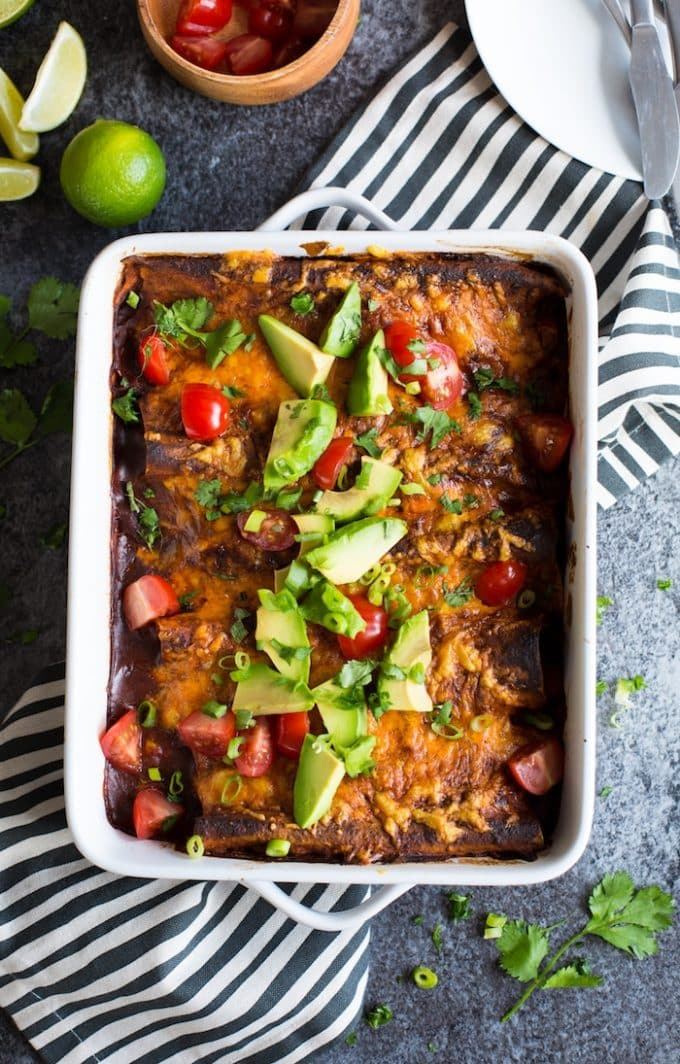 Skinny Sweet Potato Enchiladas (Vegetarian + Bean Free)