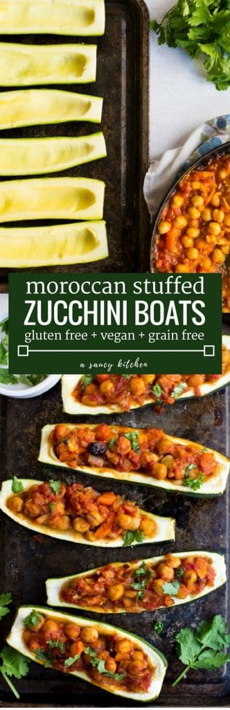 Moroccan Stuffed Zucchini Boats - Moroccan spiced veggies with chickpeas and dried cherries | Gluten Free + Vegan