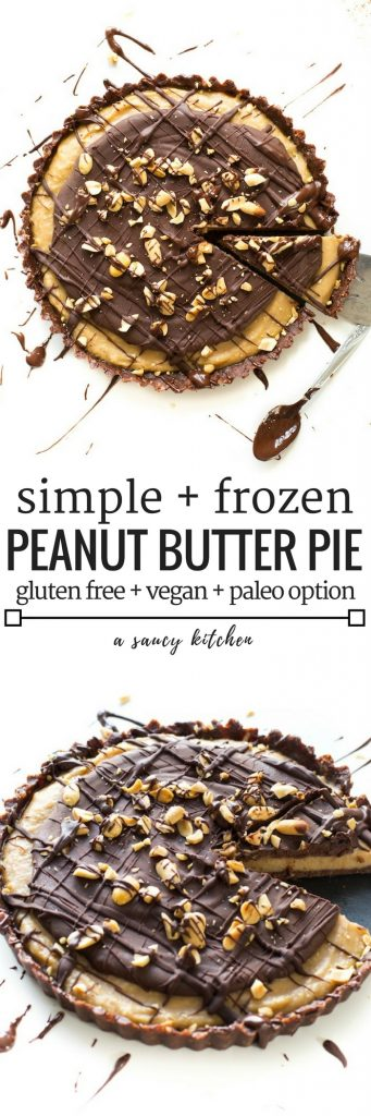 Creamy, dreamy Frozen Vegan Peanut Butter Cup Pie – Made with less than 10 all natural ingredients & easy to make! Grain Free + Vegan + Paleo Option