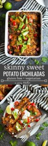 Bean free Skinny Sweet Potato Enchiladas - a veggie filled meat free meal with a quick homemade enchilada sauce perfect for busy week nights! | Gluten Free + Vegetarian