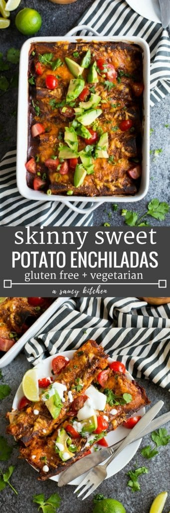 Bean free Skinny Sweet Potato Enchiladas - a veggie filled meat free meal with a quick homemade enchilada sauce perfect for busy week nights!   Gluten Free + Vegetarian