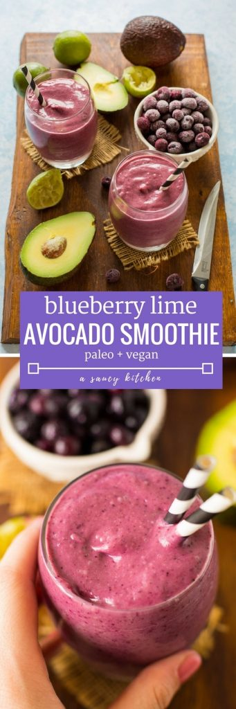 5 ingredient Blueberry Lime Smoothie - thick creamy & filling! | Paleo + Vegan