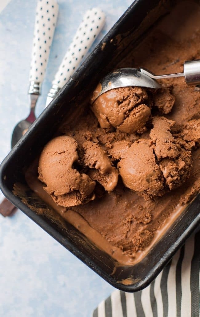 Chocolate Coconut Milk Ice Cream in an ice cream pan