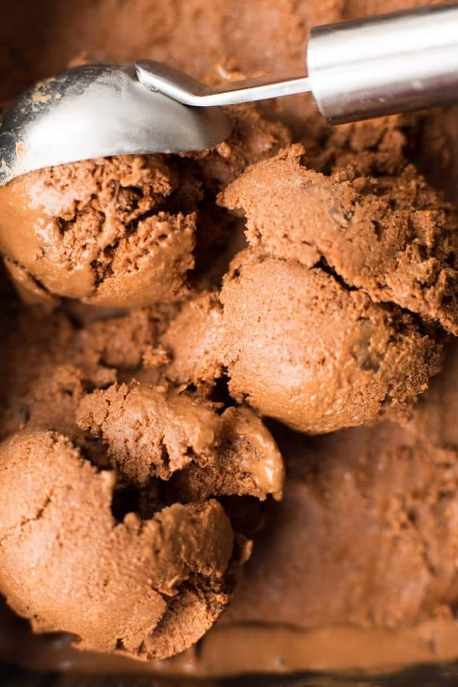 Chocolate Coconut Milk Ice Cream scooped with an ice cream scooper