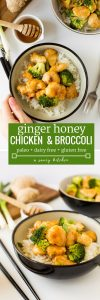 Sweet and sticky Ginger Honey Chicken with broccoli - make it in 20 minutes or less! Gluten Free + Paleo + Refined Sugar Free