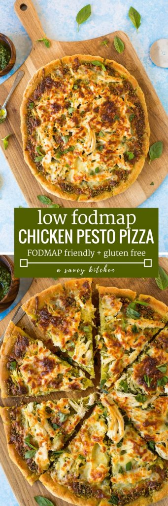 Low FODMAP Chicken Pesto Pizza - topped with a simple chive pesto, shredded chicken breasts and mozzarella.   Gluten Free + FODMAP Friendly