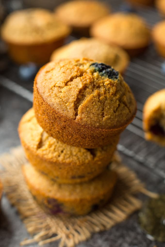 Dairy Free + Gluten Free Cornbread Muffins with Blueberries