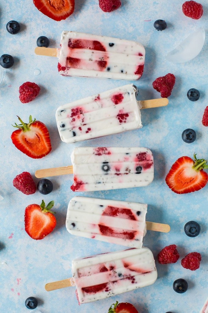 Fruity Chia Seed Coconut Popsicles