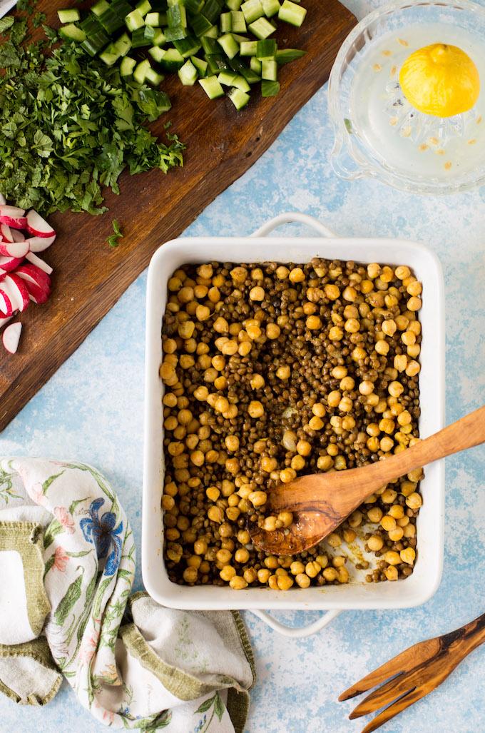 Roasted Chickpea Lentil Salad - Fresh parsley & mint, chopped veggies and zesty lemons | Gluten Free + Vegan