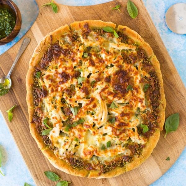 Low FODMAP Chicken Pesto Pizza