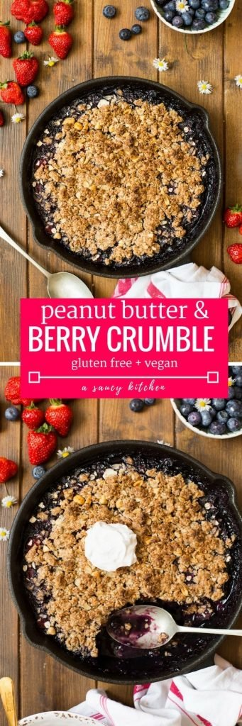 Peanut Butter Berry Crumble - made with a fruity summer filling and topped with a oaty peanut butter crumble topping. | Gluten Free + Vegan + Low FODMAP