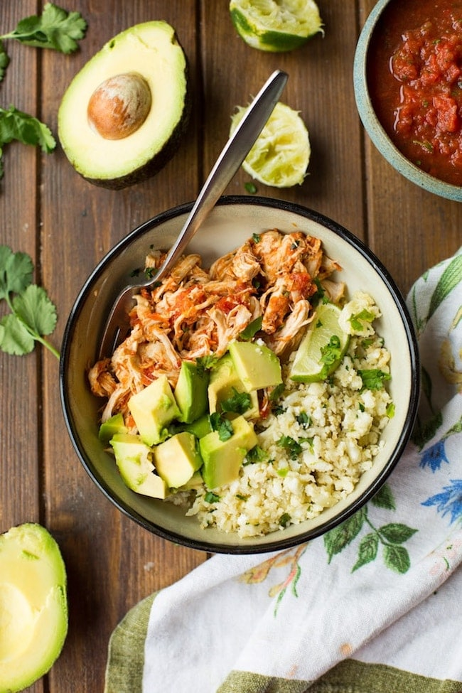Salsa Chicken in a bowl with cauliflower rice and avocado