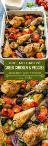 Easy One Pan Greek Chicken with Roasted Veggies - 5 minutes of prep and straight to the oven. A full meal for minimal cleanup and minimal effort! Gluten Free + Whole30