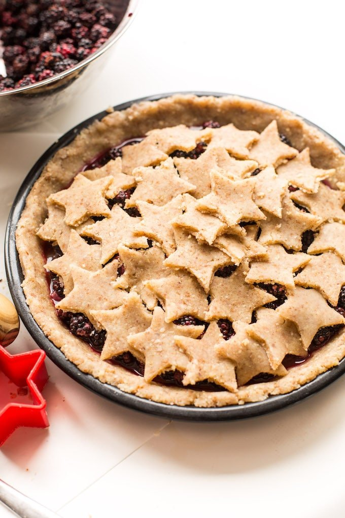 Grain Free Blackberry Pie made with an easy almond flour crust and filled with a lightly sweetened berry filling   Gluten Free + 10 ingredients