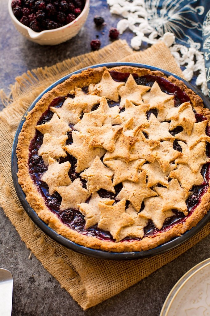 Grain Free Blackberry Pie made with an easy almond flour crust and filled with a lightly sweetened berry filling | Gluten Free + 10 ingredients