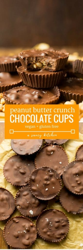 Homemade Peanut Butter Crunch Chocolate Cups - puffed rice cereal coated in peanut butter and surrounded by chocolate. Gluten Free + Vegan