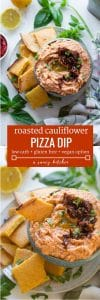 Low carb Cauliflower Pizza Dip - roasted cauliflower blended together with a few herbs & spices   Grain Free + Gluten Free + Dairy Free Option