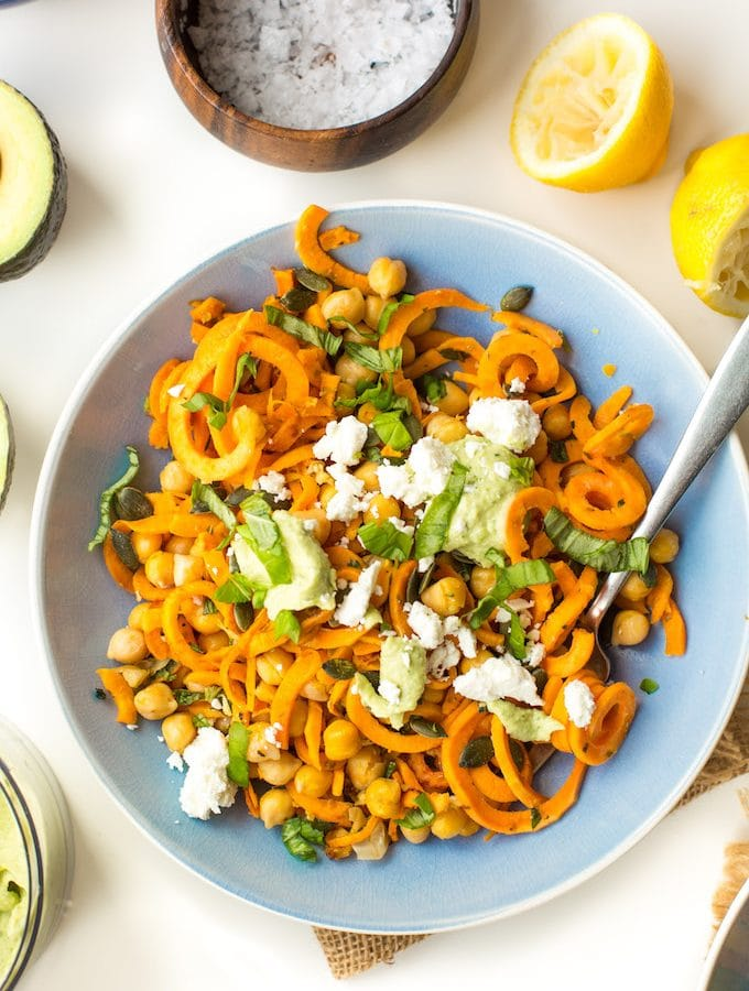 Sweet Potato Noodles with Chickpeas & Creamy Avocado Sauce
