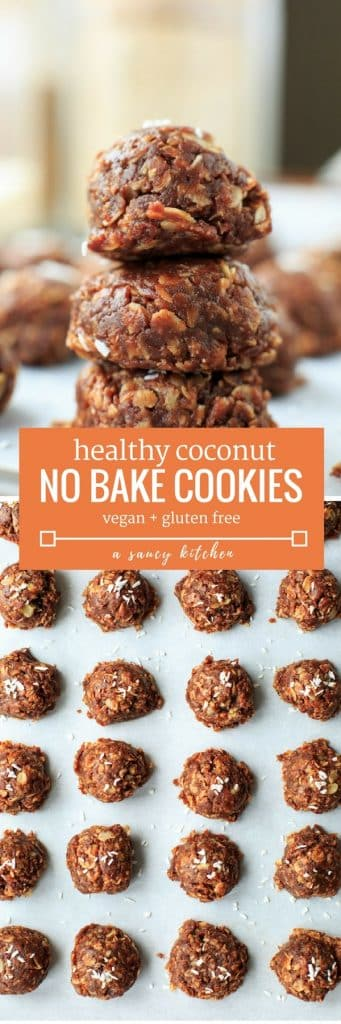 Healthy No Bake Cookies with Coconut - Naturally sweetened and easy to make with only 8 ingredients! | Gluten Free + Vegan