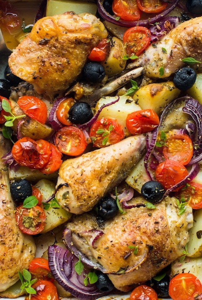Easy One Pan Greek Chicken with Roasted Veggies up close