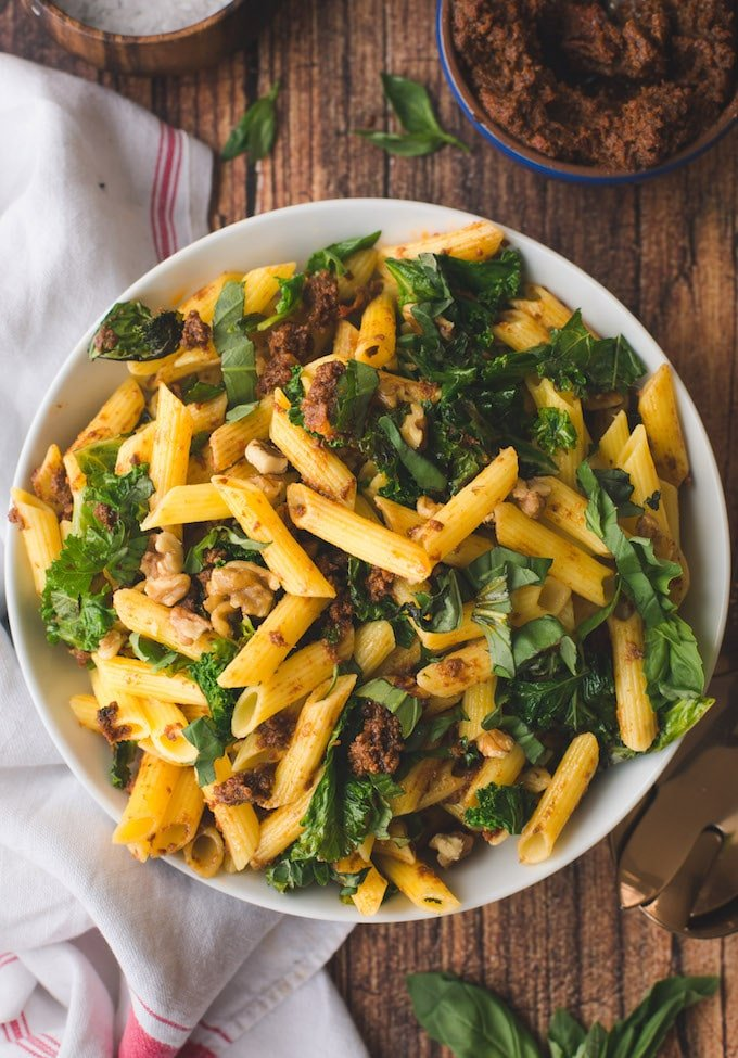 Sun Dried Tomato Pesto Pasta with Sautéed Kale & Walnuts – Vegan + GF