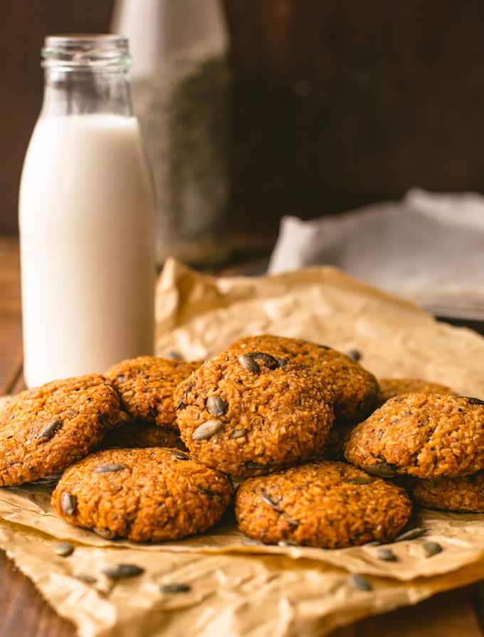 Healthy Sweet Potato Breakfast Cookies - made with desiccated coconut, a variety of seeds, mashed sweet potato and sweetened with coconut sugar | Paleo + Vegan