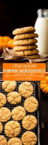 Chai Spiced Pumpkin Snickerdoodles - soft and chewy pumpkin cookies with all the cozy flavours of fall! Gluten Free + Vegan Options pin graphic