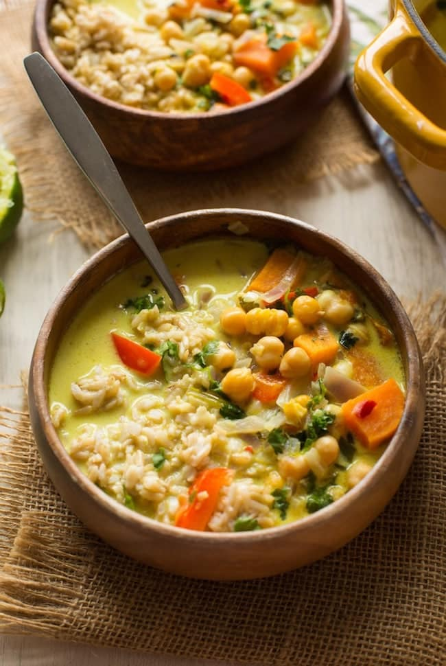 Chickpea Lime & Coconut Soup with brown rice in a bowl