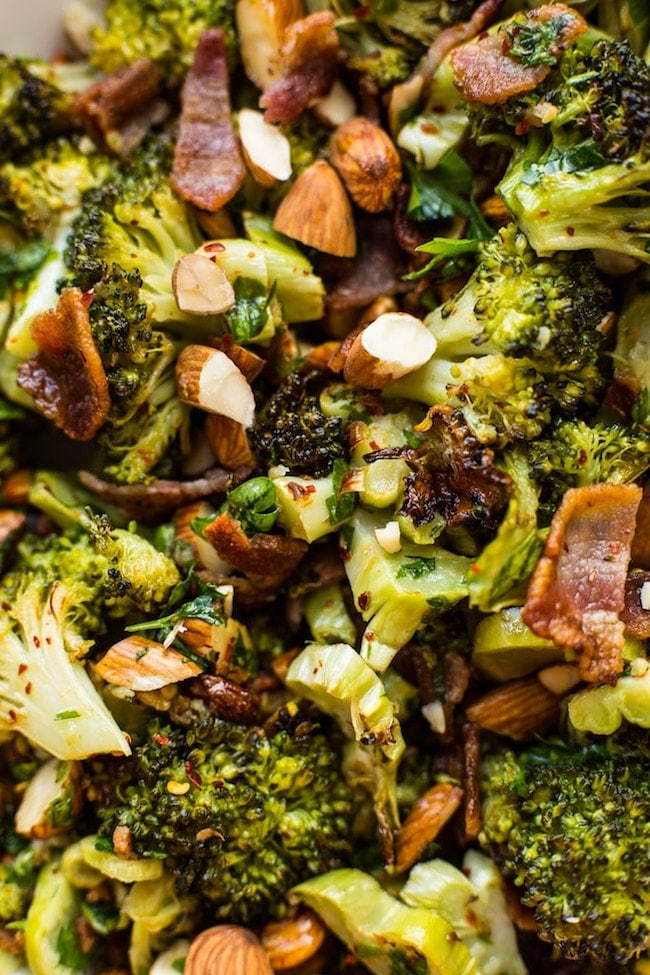 Garlic & Chili Roasted Broccoli Salad up close