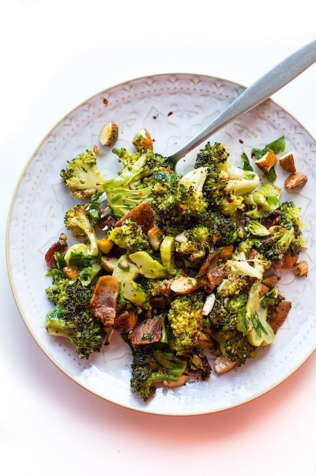 Garlic & Chili Roasted Broccoli Salad on a salad plate