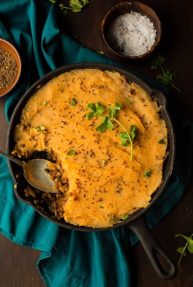 Moroccan Spiced Vegan Shepherd's Pie topped with cilantro