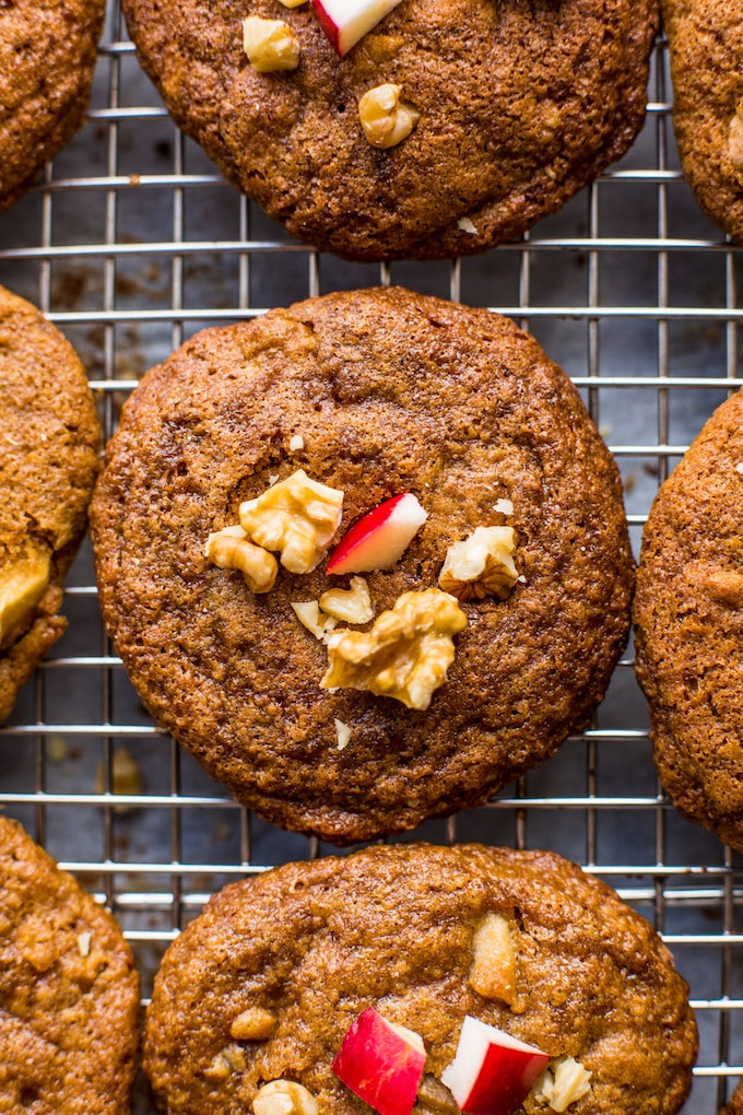 Melt in your mouth Spiced Apple Cookies with chopped walnuts & an almond butter 'caramel' glaze | Gluten Free + Paleo + Dairy Free