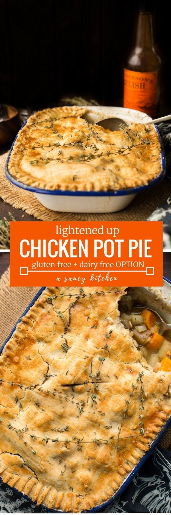 Lightened up Gluten Free Chicken Pot Pie loaded with veggies and topped with an herby crust   Dairy Free Option Available