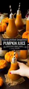 Harry Potter inspired Pumpkin Juice - made with real pumpkin, apple juice and cozy autumnal spices! | Gluten Free + Vegan + Paleo