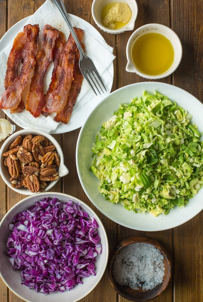 Bacon Brussels & Cabbage Salad ingredients in bowls