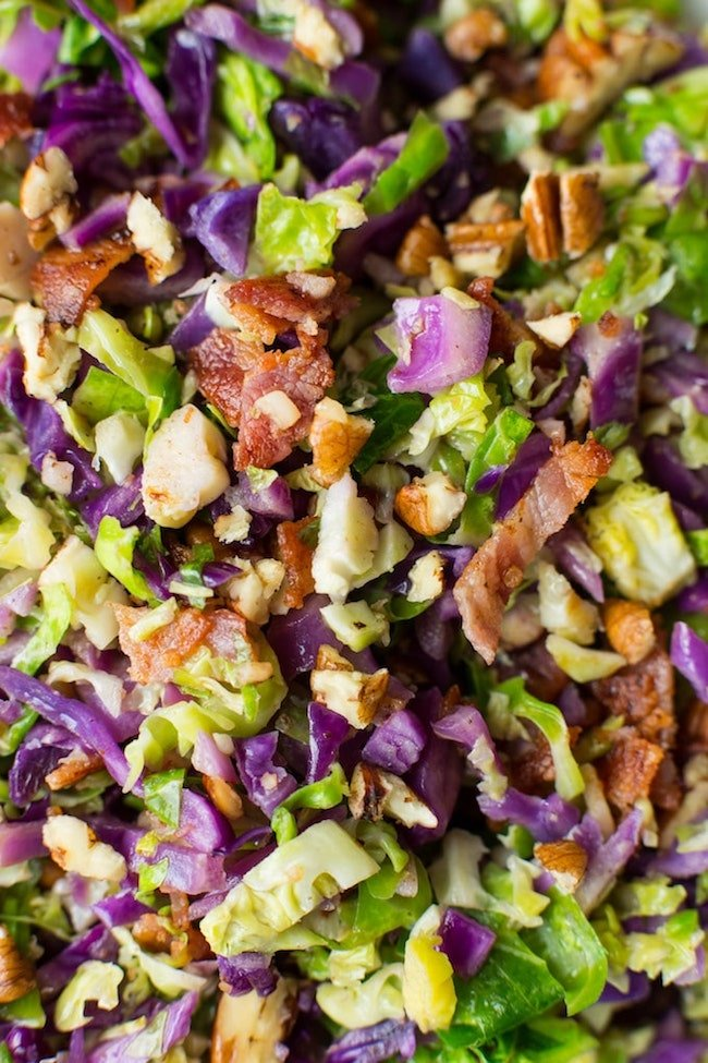 Bacon Brussels & Cabbage Salad up close