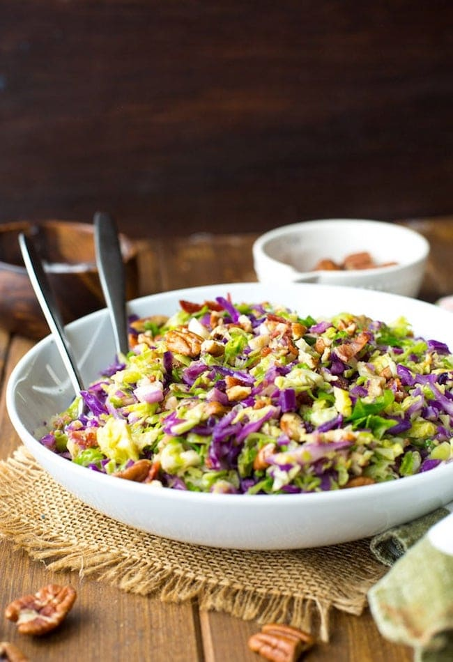 Bacon Brussels & Cabbage Salad in a salad bowl