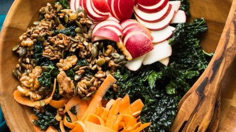 Kale Apple Salad with Maple Toasted Nut + Seed Clusters