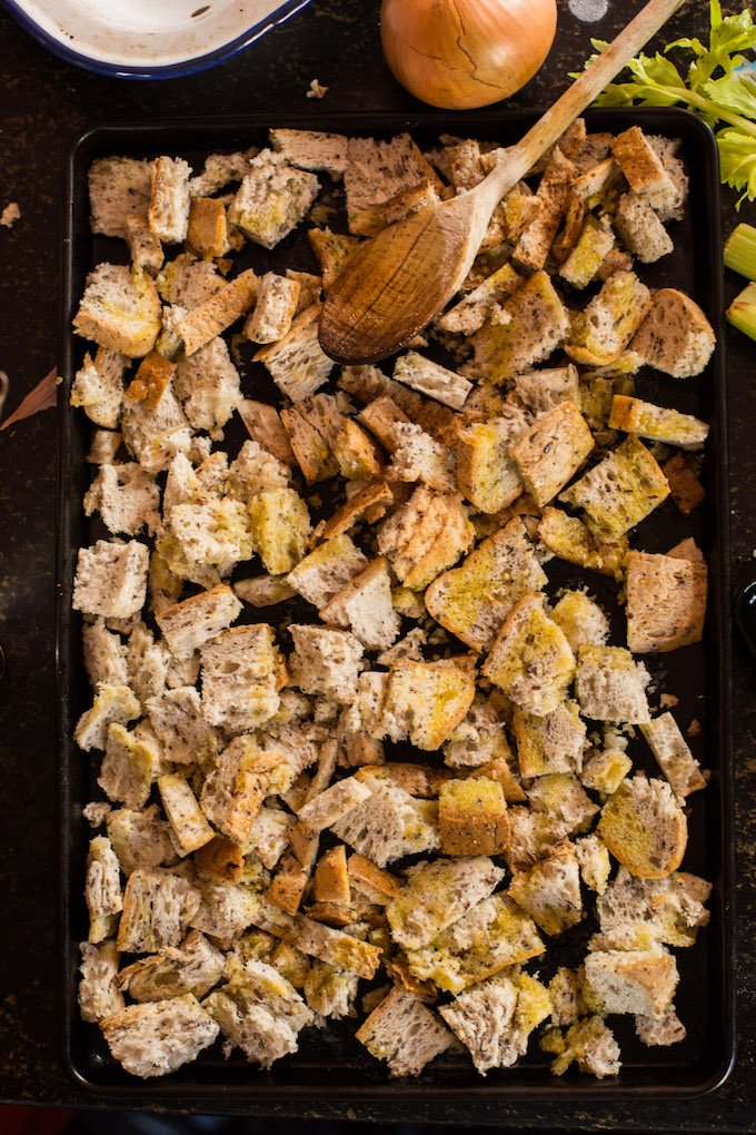 Gluten Free Stuffing - making the croutons