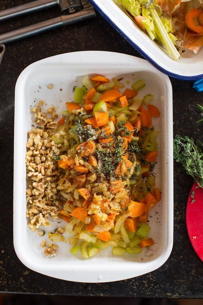 Gluten Free Stuffing - making the veggie mixture