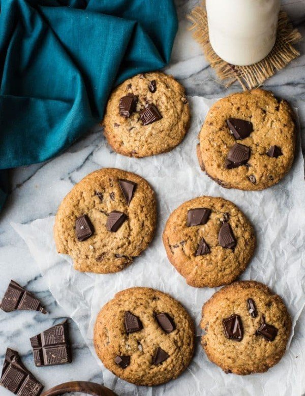 Paleo Chocolate Chip Cookies on a marble cutting board