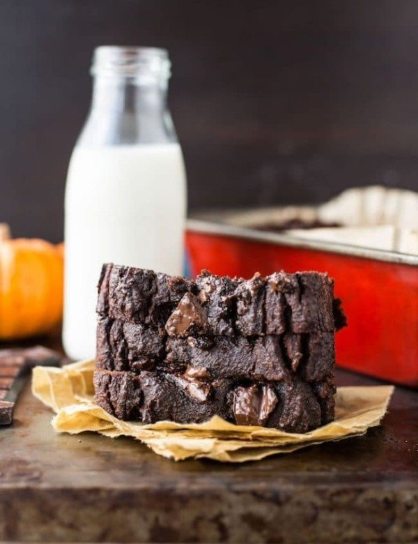 Paleo Chocolate Pumpkin Bread slices stacked with glass of milk next to it