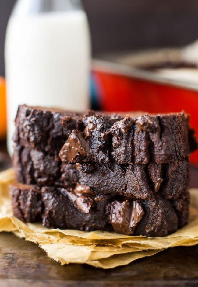 Paleo Chocolate Pumpkin Bread slices stacked