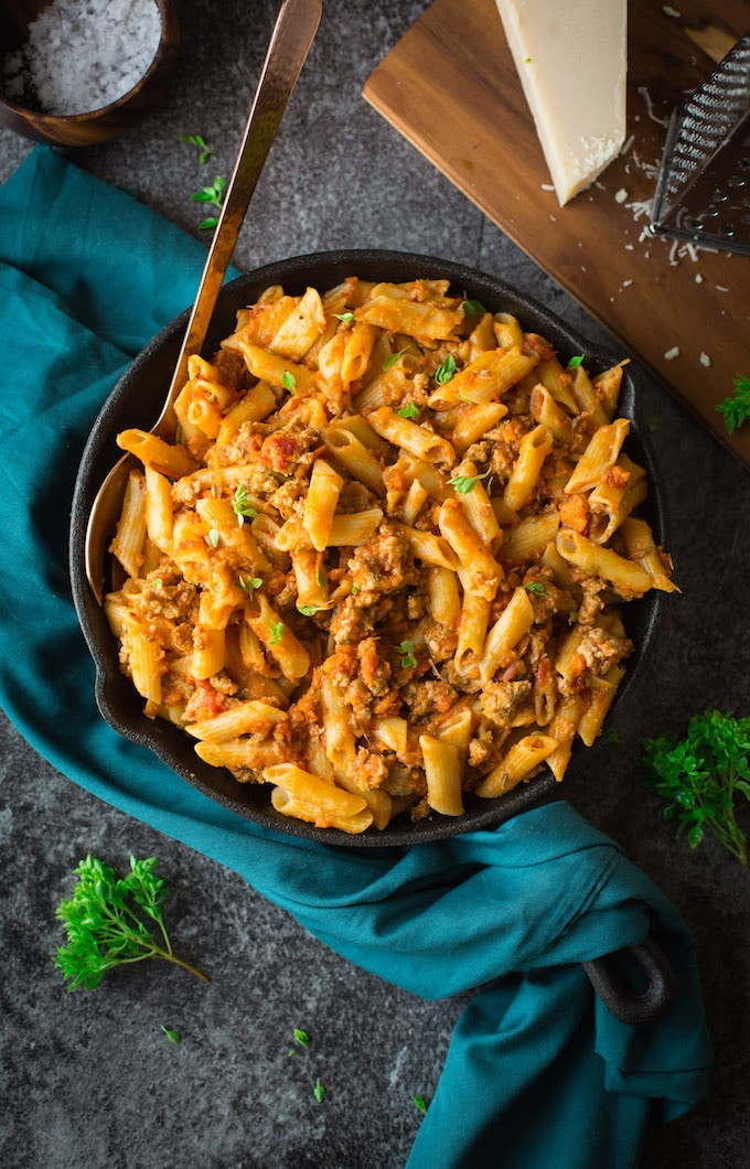 Quick, 30 minute Pork Ragu with gluten free penne - packed full of veggies and spices!