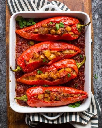 Potato and Olive Stuffed Banana Peppers