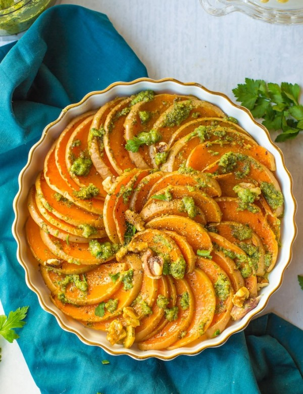 Roasted Butternut Squash Rounds with Walnuts & Parsley Pesto