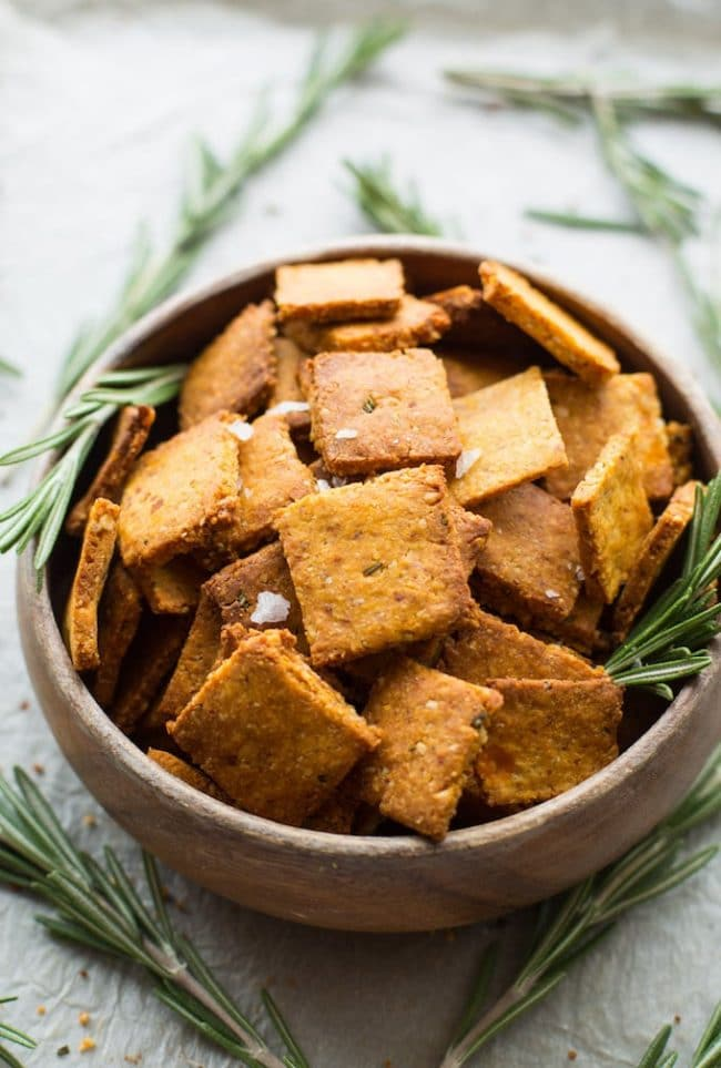 Sweet Potato Paleo Crackers in a bowl