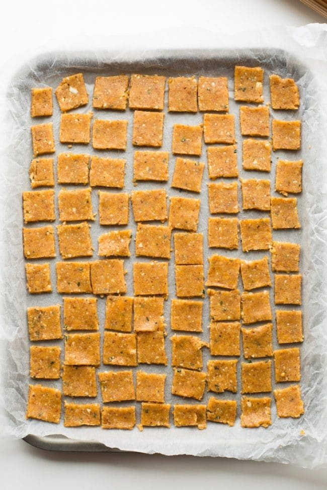 Sweet Potato Paleo Crackers cut up on a baking sheet